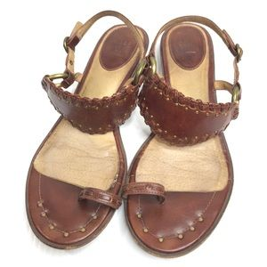 FRYE Avery Toe Ring Brown Leather Sandals 8.5